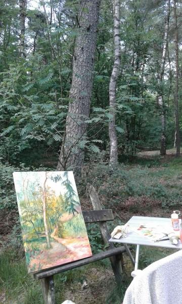 bezig in het bos
