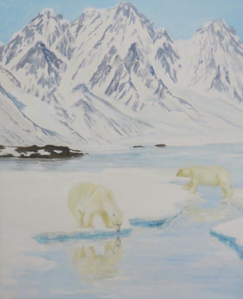 """IJsberen in de """"LiefdeFjord"""", Noordpool"""