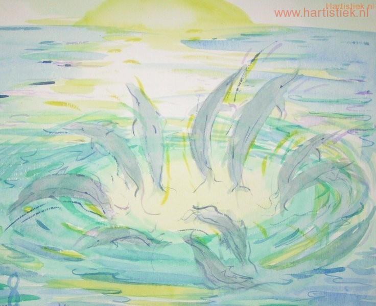Verbeelding van gevoel in het verblijf tussen de dolfijnen op de Rode Zee