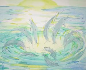 """dolfijnenplezier"", schets in aquarel"