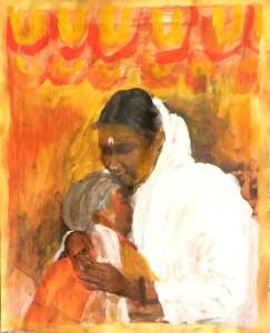 Amma's embracing Acrylschildering Mirjam