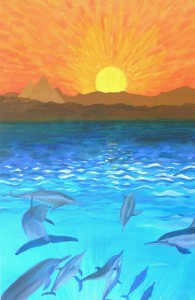 Beeld en boodschap uit een meditatie: de verbinding van de dolfijnen, de pyramides, de zon en kosmos met het licht in de aarde.